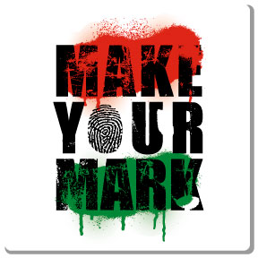 make your mark t-shirt design on 3 colors, white t-shirt. red black and green ink