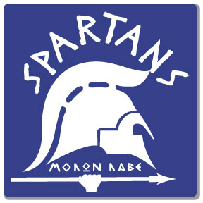 spartans logo one color white print on blue t-shirt