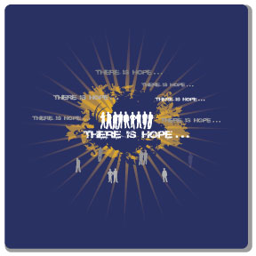 two color design sample on navy blue t-shirt, white and yellow imprint